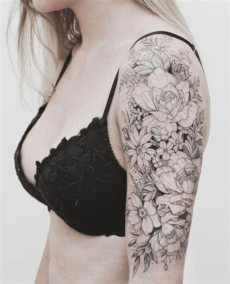 half sleeve tattoo flower designs 25 best half sleeve tattoos ideas on half