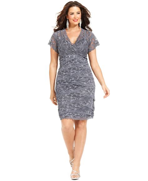 sleeve cocktail dress marina plus size cap sleeve lace cocktail dress in gray lyst