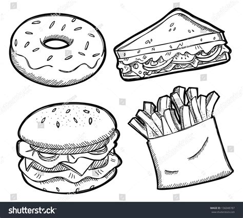 totally non crappy coloring book illustrated with crappy pictures books set unhealthy food stock vector 136048787