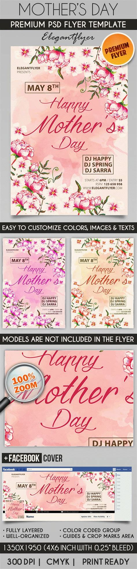 mothers day card psd template flowers for mothers day psd poster by elegantflyer