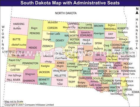 dakota map usa south dakota county seat map