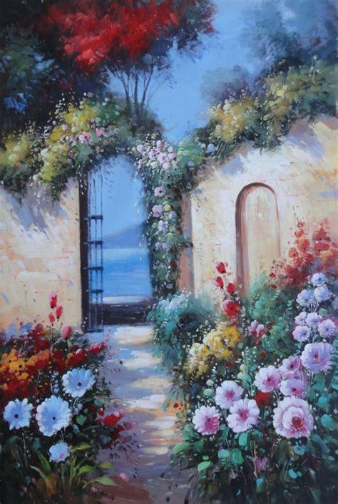 framed blooming flower garden  mediterranean sea oil
