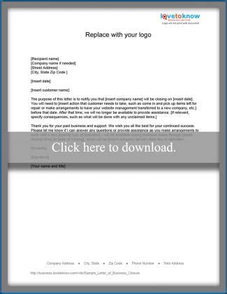 Customer Itar Notification Letter sle certificate of business closure gallery