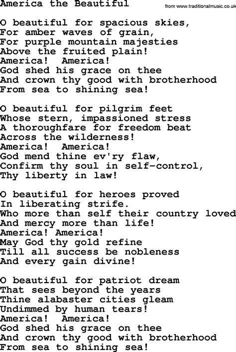 beautiful songs lyrics the 25 america the beautiful lyrics www pixshark images