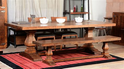 farmhouse trestle traditional rustic dining table bench