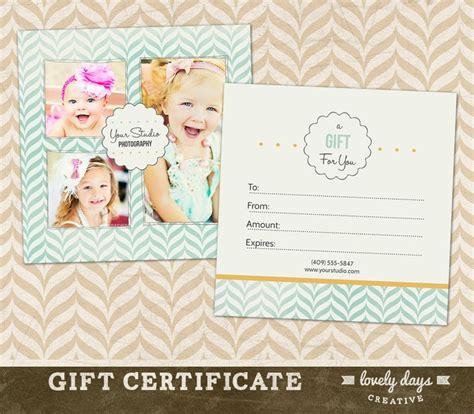 Photography Gift Certificate Template For Professional Photographers Instant Download Photography Gift Certificate Template Free