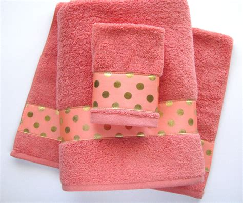 Coral Gold Towels Hand Towels Bath Towels Custom By Augustave Coral And Brown Shower Curtain