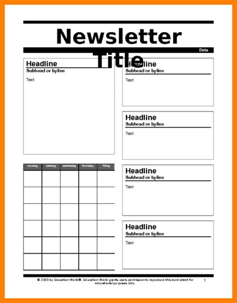5 free printable newsletter template assembly resume