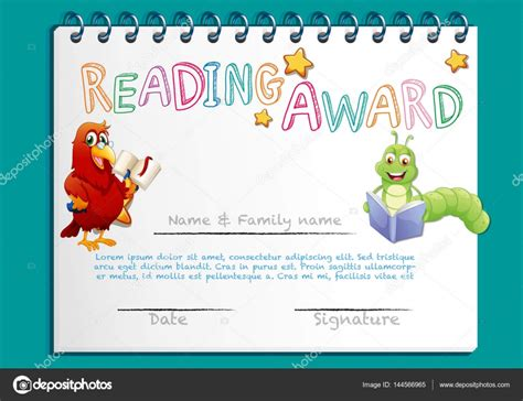 template for reading award certificate reading award certificate template with bird reading book