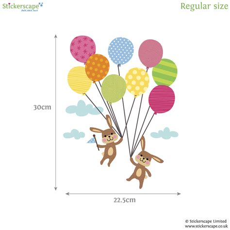 balloon wall stickers bunnies with balloons wall sticker stickerscape uk