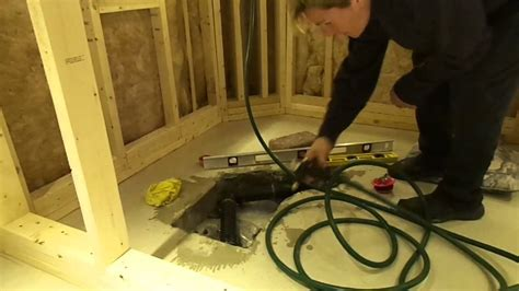 how to install a bathtub on concrete floor how to install a shower drain in a cement floor youtube