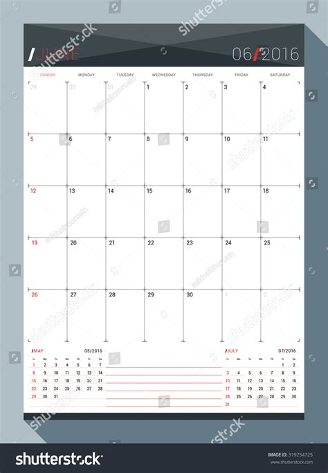 design calendar planner june 2016 vector design print template stock vector