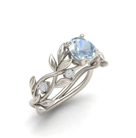 leaf pattern diamond ring leaf engagement ring white gold 14kaquamarine engagement