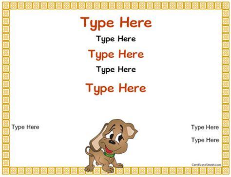 blank certificates puppy certificate certificatestreet com