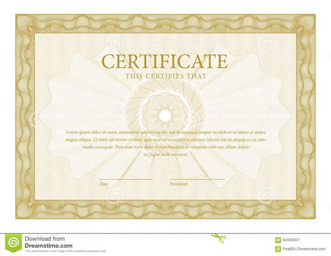 certificate template diplomas currency stock vector