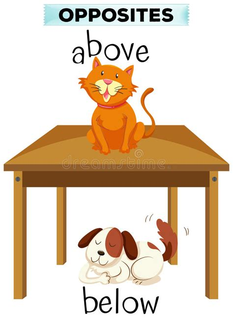 above and below opposite words for above and below stock vector illustration 84161993