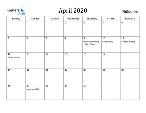 april  calendar philippines
