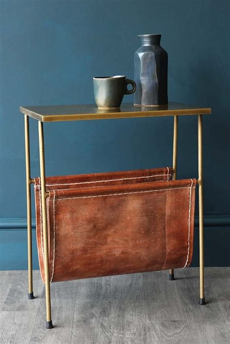 Side Table Magazine Holder gatsby side table with leather magazine holder