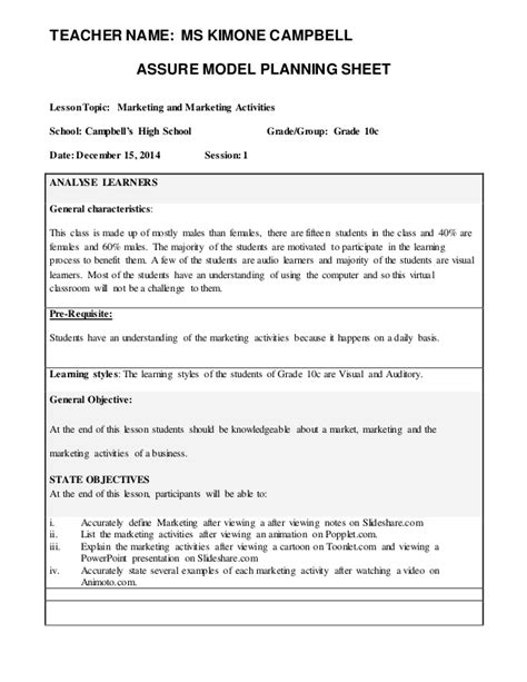 assure model lesson plan template assure lesson plan 21st century