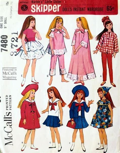 fashion doll clothing rosemarie ionker vintage 60s mccalls 7480 doll pattern mattel 1964 skipper