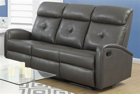 gray reclining sofa 88gy 3 charcoal grey bonded leather reclining sofa 88gy 3
