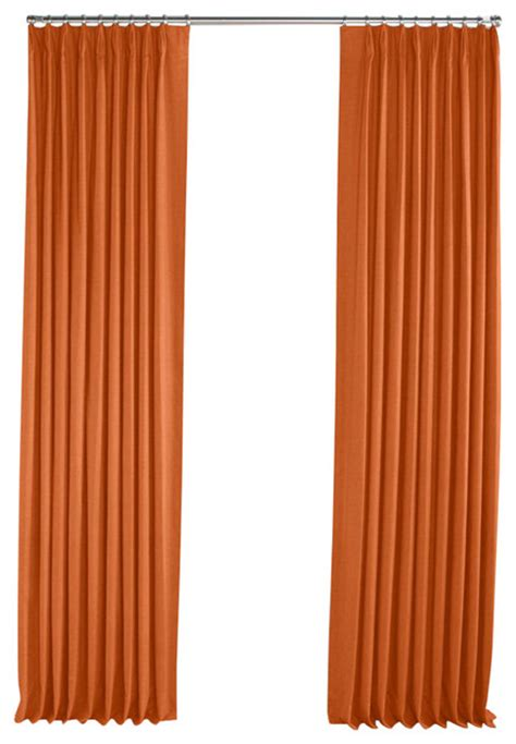Orange Linen Curtains Burnt Orange Linen Pleated Curtain Single Panel Contemporary Curtains By Loom Decor
