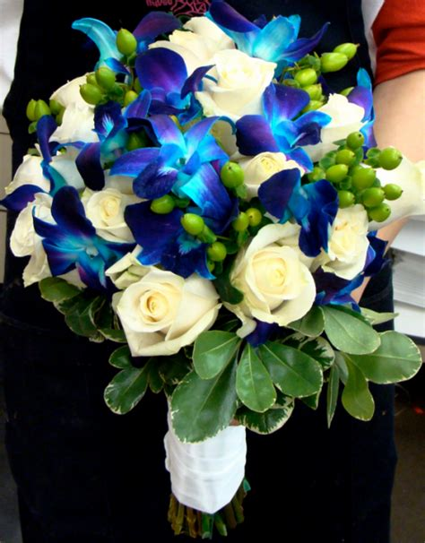 Blue Wedding Flowers Pictures by Blue Flowers Wedding Bouquet With Blue Orchids And White