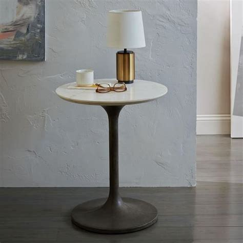 marble pedestal side table white marble top concrete pedestal side table
