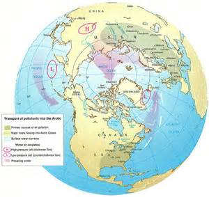 arctic circle canada map transports of pollutants into the arctic you are here