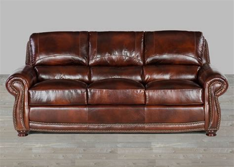 o leather sofa top grain brown leather sofas with nailheads