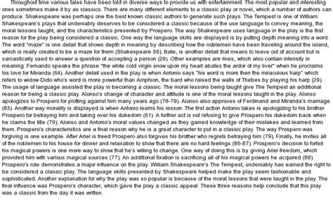 The Tempest Essay by Analysis Of The Tempest By Shakespeare At Essaypedia
