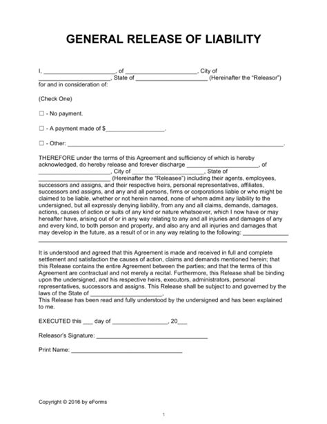 liability release form general release of liability form arch times