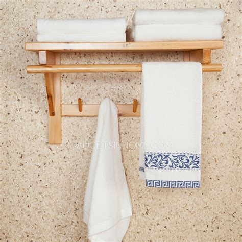 bathroom towel shelf wood 50cm double wood hanging bathroom towel shelves