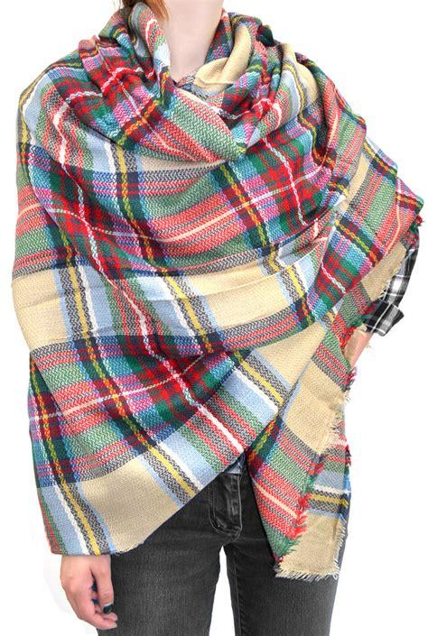 warm plaid woven oversized fringe scarf blanket shawl wrap