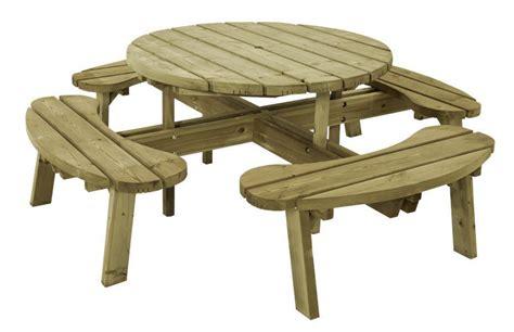 banc de picnic en bois table ronde avec banc en bois
