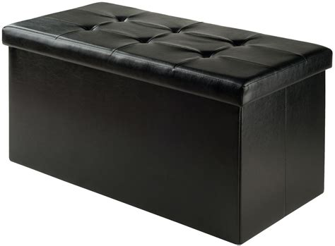 Ashford Black Upholstered Large Storage Ottoman From Large Black Storage Ottoman
