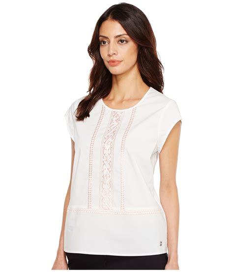 Ivanka Blouse ivanka cotton blend woven embroidered blouse at zappos