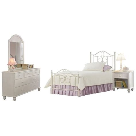 Metal Bed Sets Hillsdale Westfield Metal Poster Bed 4 Bedroom Set In White Finish 1354xm4set
