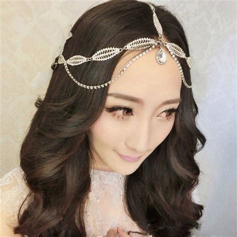 wedding hair accessories shop in india silver rhinestone forehead headband wedding bridal