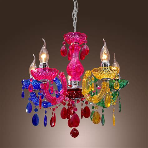 Colourful Chandeliers Colorful Rainbow Classic Vintage Artistic Ceiling Light Chandelier 5l Ebay