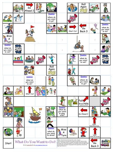 printable games english language learners what do you want to do board game