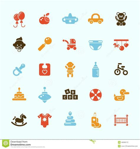 baby layout vector set of flat design cute baby icons stock vector image