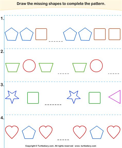 complete the pattern worksheet for kindergarten complete the missing pattern 5 worksheet turtlediary com