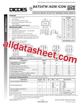 diodes inc bat54 7 f bat54sdw 7 f datasheet pdf diodes incorporated