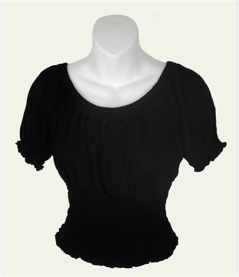 Wst 15076 Blue Wide Sleeved Top sarongsetc sleeve crinkle peasant blouse
