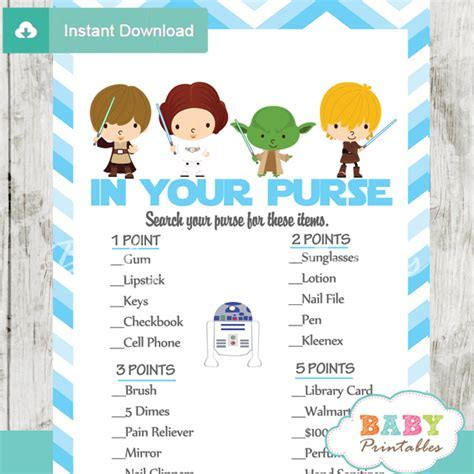 Blue Chevron Star Wars Baby Shower Games   D205   Baby Printables