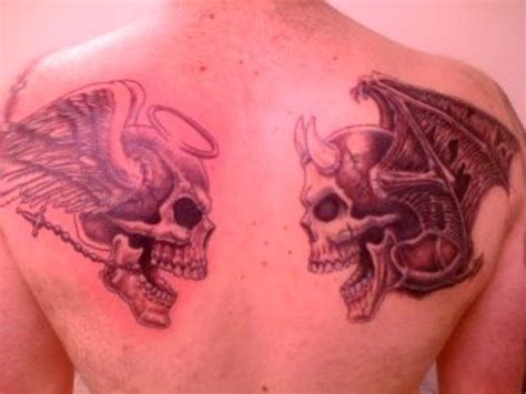 good and evil tattoo heaven and hell designs for vs evil