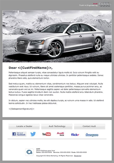 audi branded automotive dealership email newsletter  behance