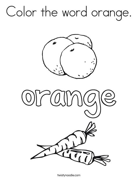coloring pages color orange color the word orange coloring page twisty noodle