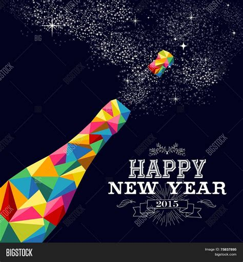 new year 2015 poster design new year 2015 chagne bottle poster design stock vector